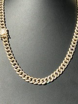 Mens Cuban Miami Link 9mm Chain 14k Gold Over Solid 925 Silver 25ct Lab ... - £120.73 GBP+