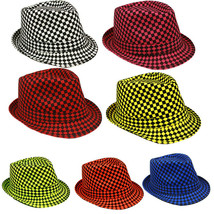 Checkered Fedora Hat - Trilby Fedora Hat Neon Color Checkered Design - $9.25+