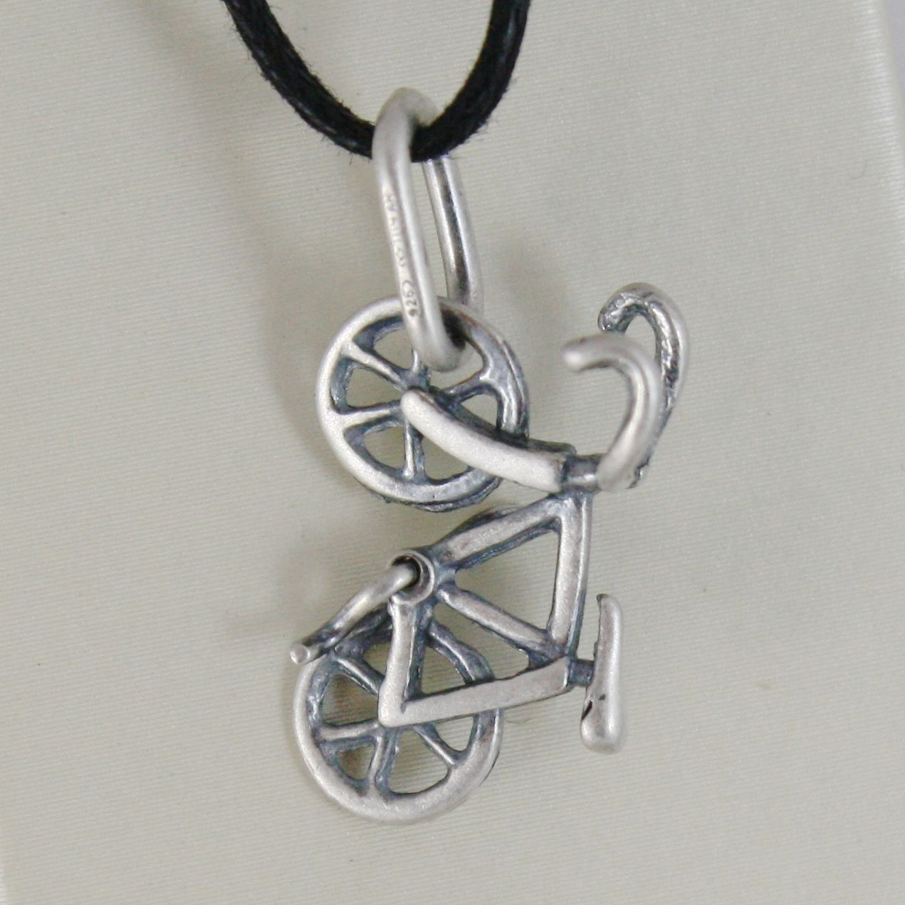 925 STERLING SILVER ROAD BIKE PENDANT CHARMS BURNISHED SATIN MADE IN ITALY