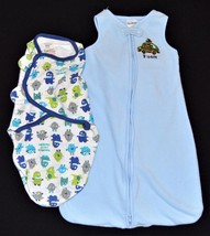 Lot 2 0-9m Baby Blankets Wraps Sacks Summer Swaddle Me Monster Small Gar... - $9.99
