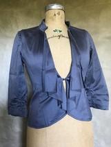 Tabitha Anthropologie Women's Blazer Jacket DRAPED 4 Charcoal Gray 3/4 S... - $48.25