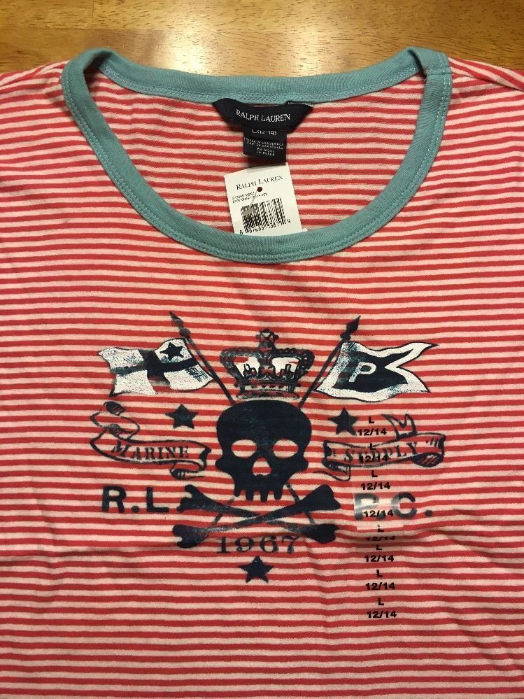 NWT Ralph Lauren Girl's Red Striped Blue Trim Pirate Shirt Size Large 12/14 image 3