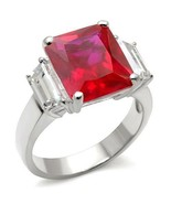 Square Cut Red CZ Cocktail Ring July Birthstone .925 Sterling Silver - $32.00