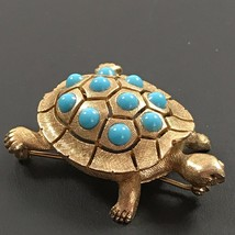 Vintage Ciner Signed Figural Turtle Brooch Pin Gold Turquoise Blue Stone... - $277.92