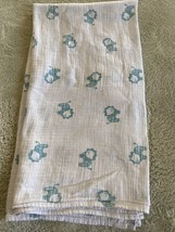 Aden Anais Boys White Teal Lions Swaddle Baby Blanket 100% Cotton - $12.13