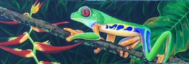 RED EYED TREE FROG airbrushed/painted original painting - $149.25