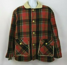 Shanhouse Sherpa Lined Plaid Red Black Checker Vintage Flannel Coat Size... - $69.29