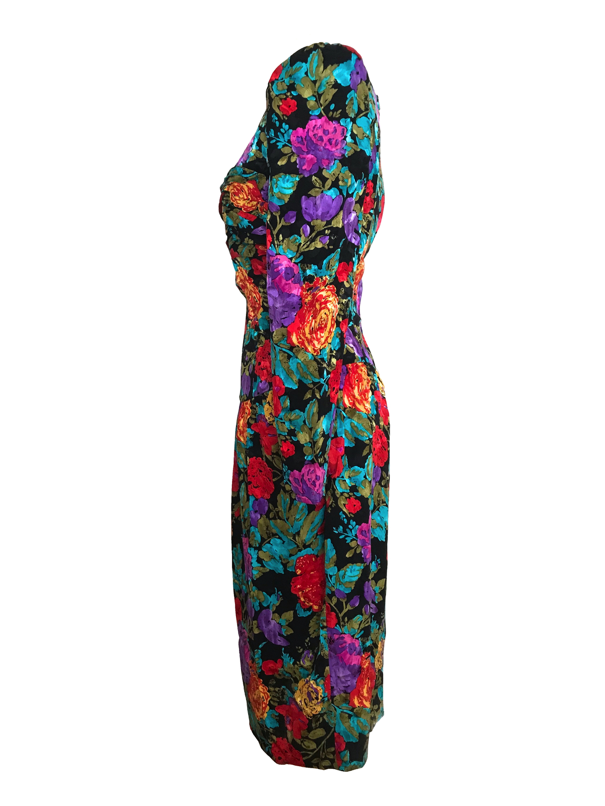 80s Vtg 100% Silk Maggy London Floral Ruched Wiggle Bombshell Cocktail Dress S