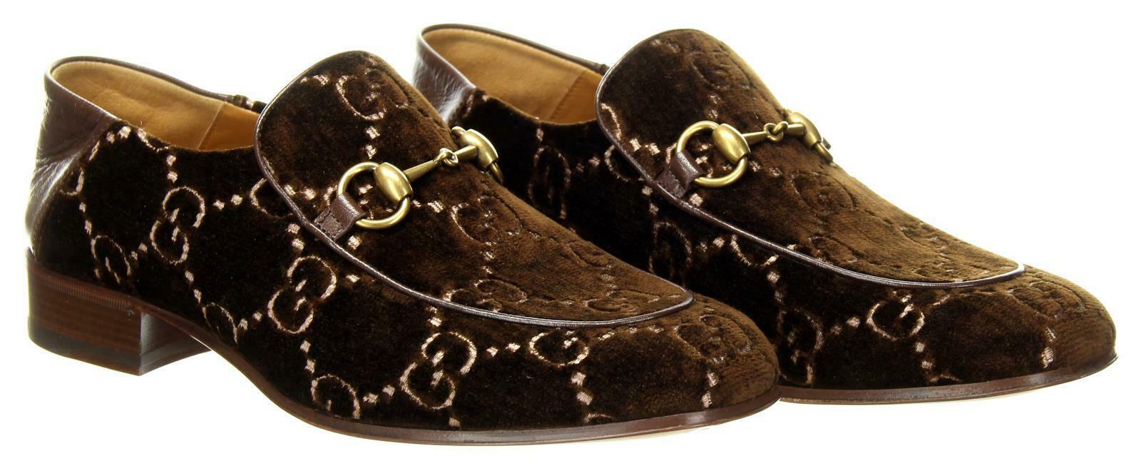 accef72ec S l1600. S l1600. Previous. Gucci Men's Quentin Horsebit Buckle Velvet  Loafers Shoes Brown US 8 Gucci Size 7
