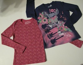 Girls Long Sleeve T-Shirts Fushia with Multi-colored Dots & Dark Blue wi... - $7.84
