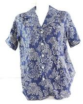 Denim and Co sz S linen blend button down shirt tropical print blue - $15.00