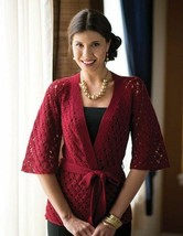 Z746 Crochet PATTERN ONLY Kyoto Kimono Lacy Diamond Inspired Jacket Pattern - $8.50