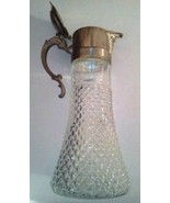 DECANTER CARAFE VINTAGE DIAMOND CUT WIDE BOTTOM GLASS SILVER TONE POOR C... - $58.19