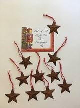 Set of 10 Rusty Tin Star Ornaments FARMHOUSE/Prim/Country Christmas - $9.46