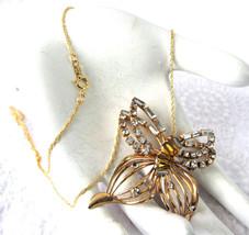 Rhinestone Butterfly Necklace Convertible Pin Pendant Phyllis Amber Fili... - $38.00