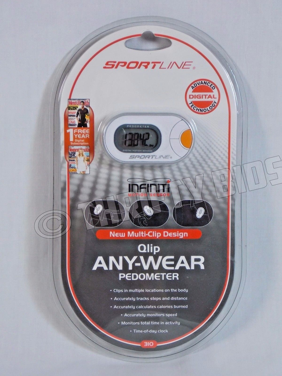Sportline 310 Qlip Any Wear Digital Pedometer Infiniti Motion Sensor White Clip
