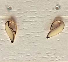 Vintage 1970s Gold Tone Cream Abstract Teardrop Dollop Post Earrings - $8.90