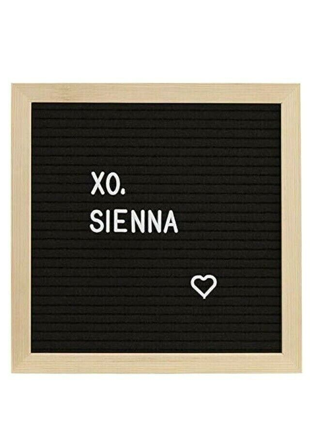 Sienna Felt Message Board Pine 10 x 10 Black Linen 189 White Letters Hanger