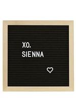 Sienna Felt Message Board Pine 10 x 10 Black Linen 189 White Letters Hanger - $17.59