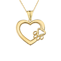 "Solid 10k Yellow Gold Heart Paw Print Pendant Necklace 16"" 18"" 20"" 22""  - $108.80+"