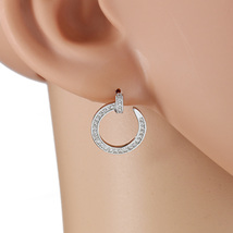 UE- Open Circle Silver Tone Designer Earrings With Swarovski Style Crystals - $15.99