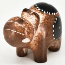 Crafts Caravan Soapstone Speckled Brown Hippopotamus Hippo Figurine Made Kenya image 2