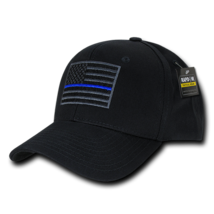Law Enforcement Police Thin Blue Line USA American Flag Black Adjustable Cap Hat - $16.10