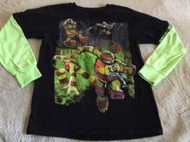 Teenage Mutant Ninja Turtles Black Neon Green Long Sleeve Shirt 10-12 - $7.38