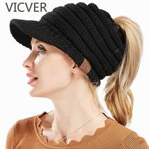 beef2bde528 CC Ponytail Beanies Winter Hats For Women Knitted Warm Cap Messy Bun Bea.