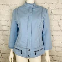 St. John Sport By Marie Gray Women's Moto Jacket Medium Blue Zip 3/4 Sleeve - $70.13