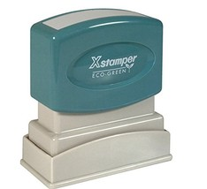 """Xstamper One-Color Title Message Stamp,""""Paid,"""" Pre-Inked/Re-Inkable, Light Green"""