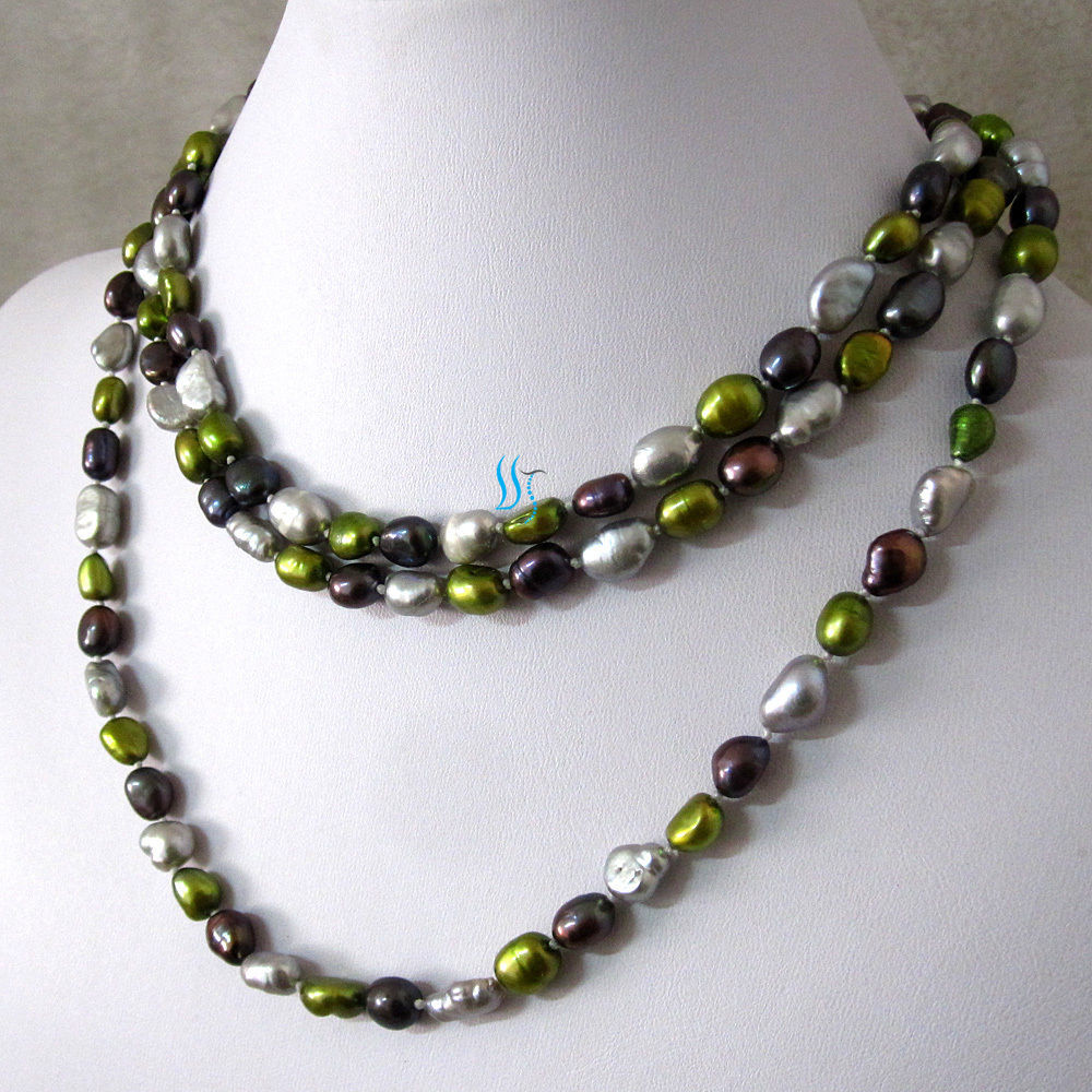 """50"""" 7-8mm Multi Color Baroque Freshwater Pearl Necklace Fashion Jewelry"""