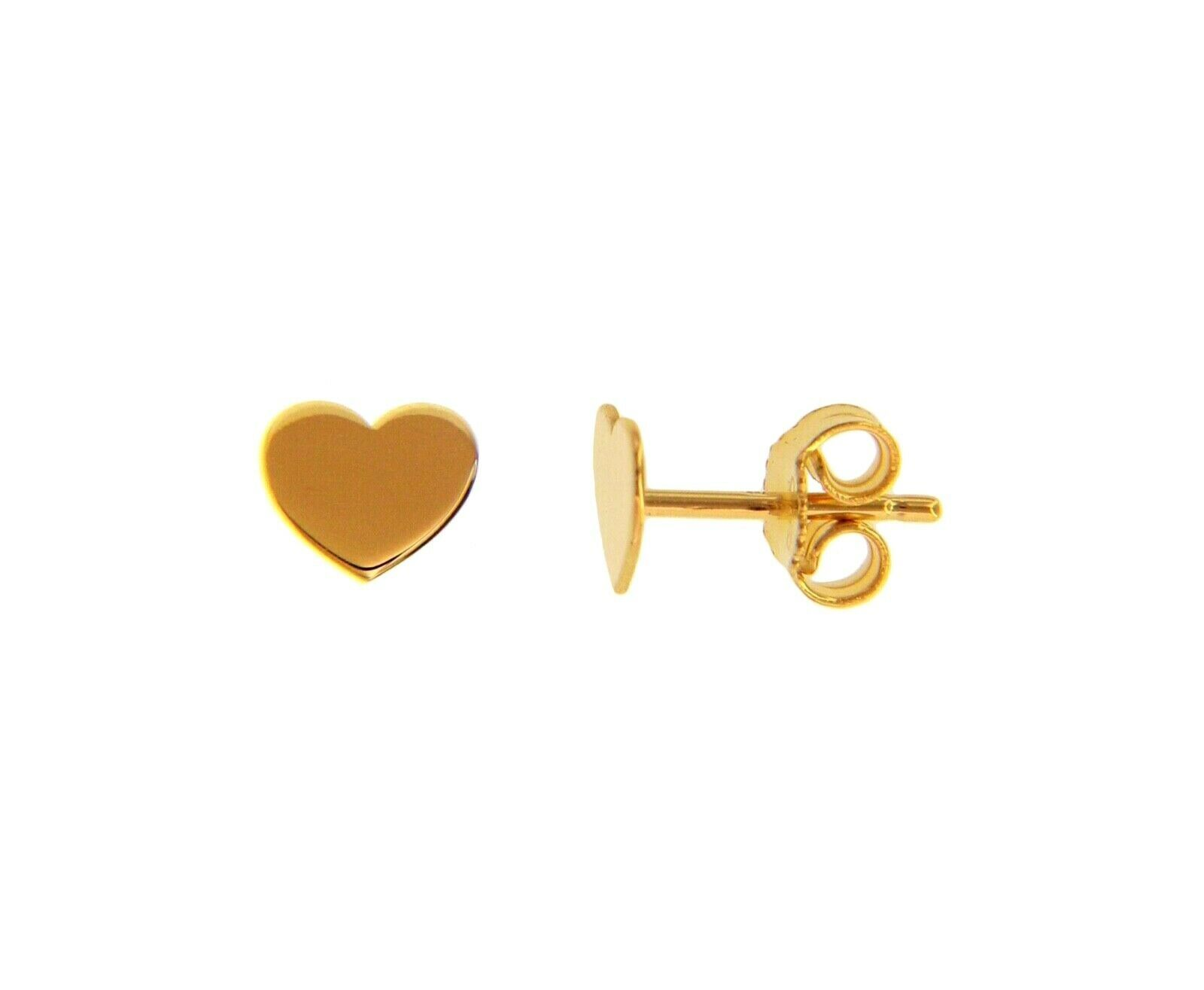 SOLID 18K YELLOW GOLD EARRINGS FLAT HEART, SHINY, SMOOTH, 8x6mm, MADE IN ITALY