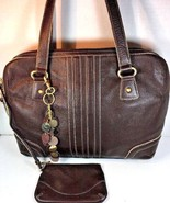 Franklin Covey Women's Brown Leather Laptop Tote Detachable Pouch & Charm - $53.34