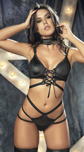 Mapale Black Strappy Underwired Wet Look Bra & Panty Lingerie 2599 - $31.99