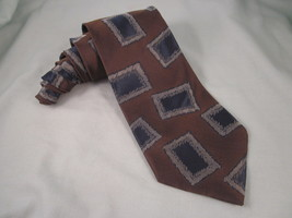 GIORGIO ARMANI Cravatte Silk Necktie Brown Blue Silver Gray Neck Tie Box... - $19.55