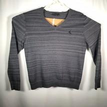 Express Men's Medium V Neck Sweater Logo Gray Stripes Cotton Blend - $14.01