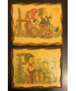 Vintage Pair Of Wall Plaques Hope Faith - $11.88