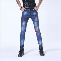 The trend of men's pants patch hole men wear white cotton denim jeans ti... - $35.70
