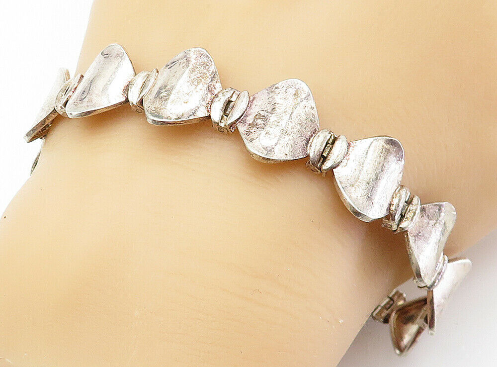 925 Sterling Silver - Vintage Smooth Curved Hinge Link Chain Bracelet - B5997