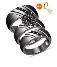 10K Black Gold Over His Her Men Women Trio Diamond Ring Set Wedding Brid... - $155.98