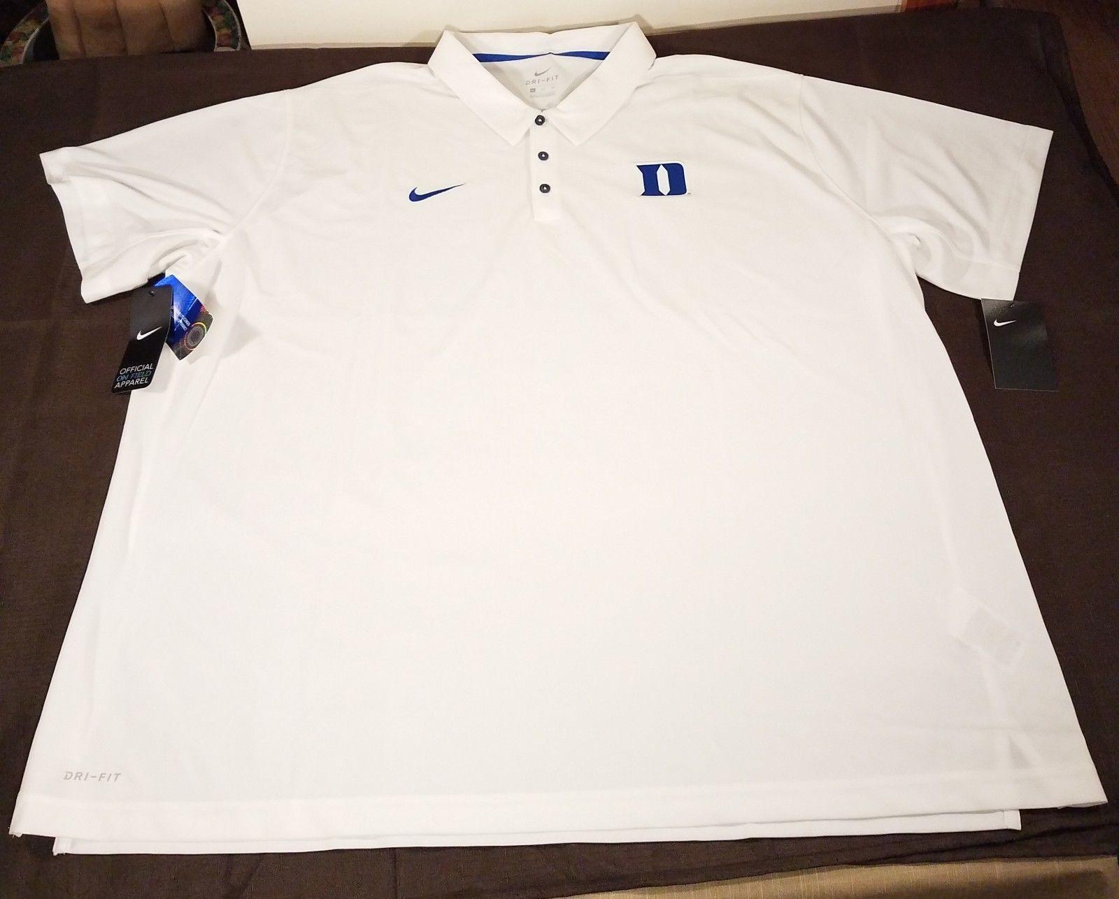 83829770 ... Nike Duke Blue Devils Logo Football Team Issue Polo Shirt Mens 4XL  White Blue ...