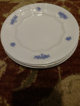 "Set of 4 1860's Blue Chelsea Grape Pattern Porcelain 7"" plates - $42.50"