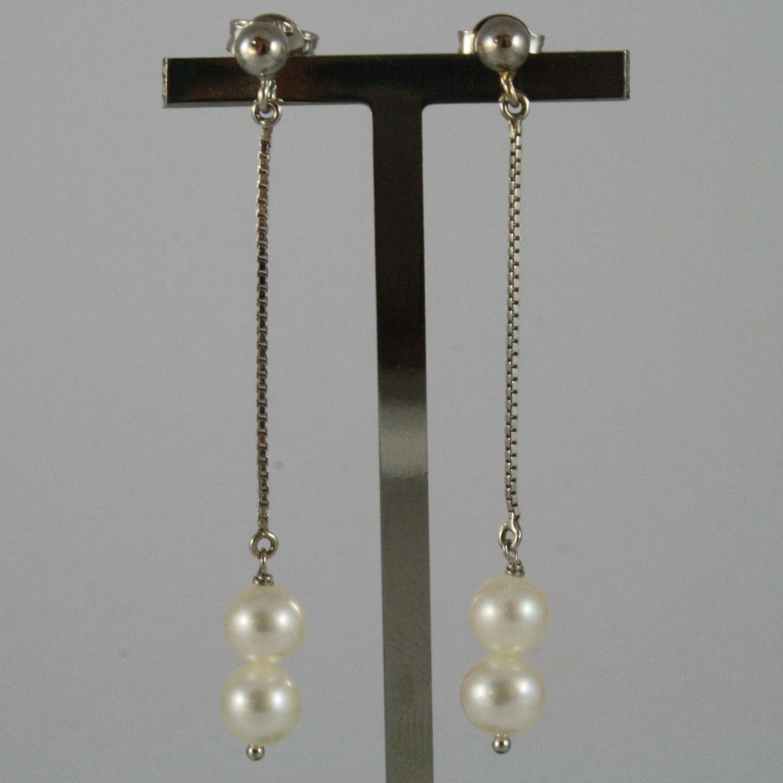 White Gold Earrings 750 18K with White Pearls of Water Dolce Long 5,5 CM