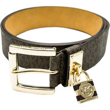 Michael Kors Women's MK Logo Premium Faux Leather Belt Hamilton Lock 553305 image 8