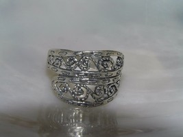 Estate 925 Marked Silver Curlicue Faux Wrap Band Ring Size 8.5 – top is ... - $15.79