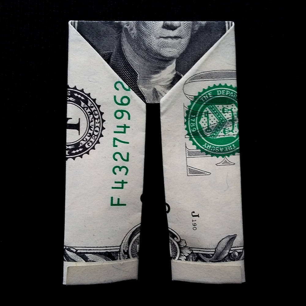 Make money origami trousers or pants, step by step | Money origami ... | 1000x1000