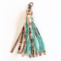 Turquoise Tassel Keychain, Tassel Keyring, Purse Charms Tassel, Fabric Keychain