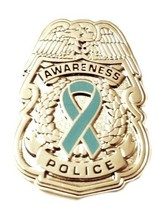Teal Ribbon Pin Police Badge Awareness Security Sheriff Officer Nickel P... - $13.97