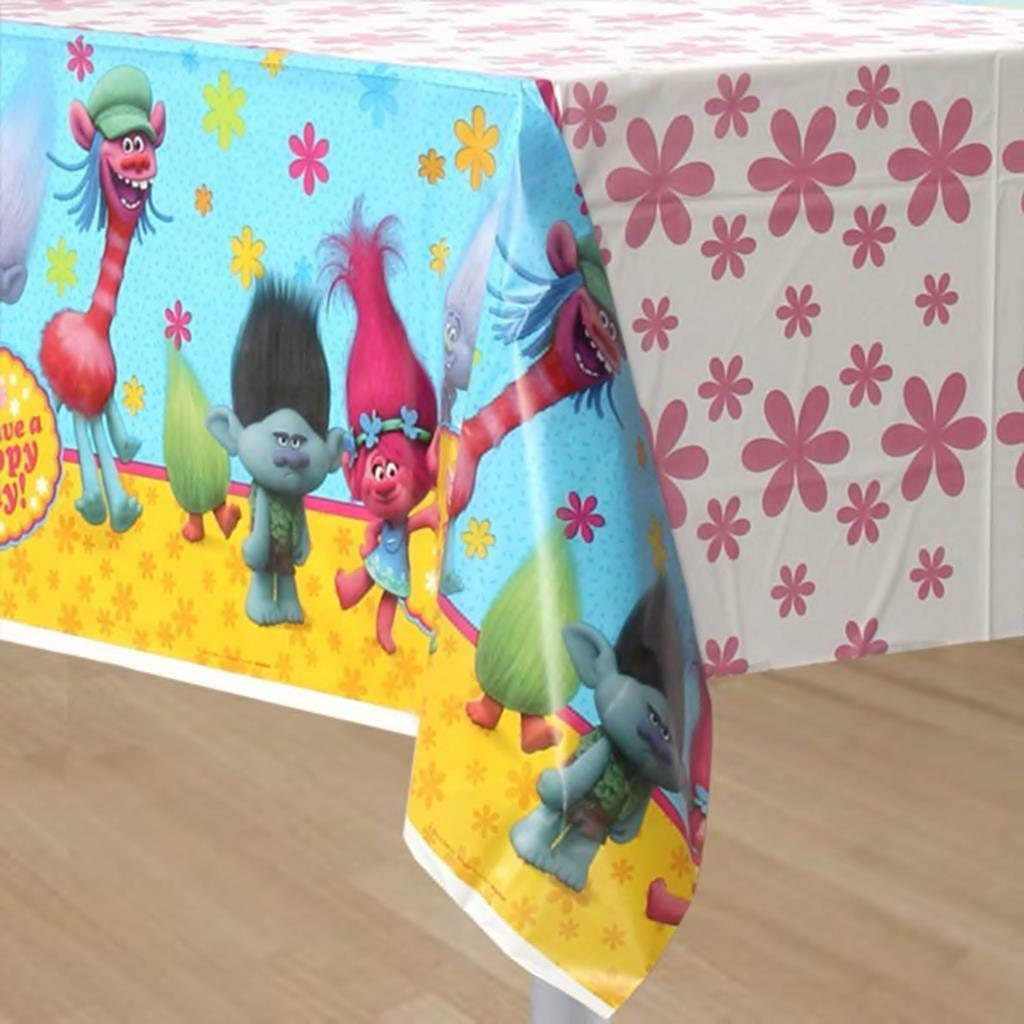 "Primary image for Trolls Dreamworks Table Cover 54"" x 96"" Plastic Birthday Party Supplies 1 Count"